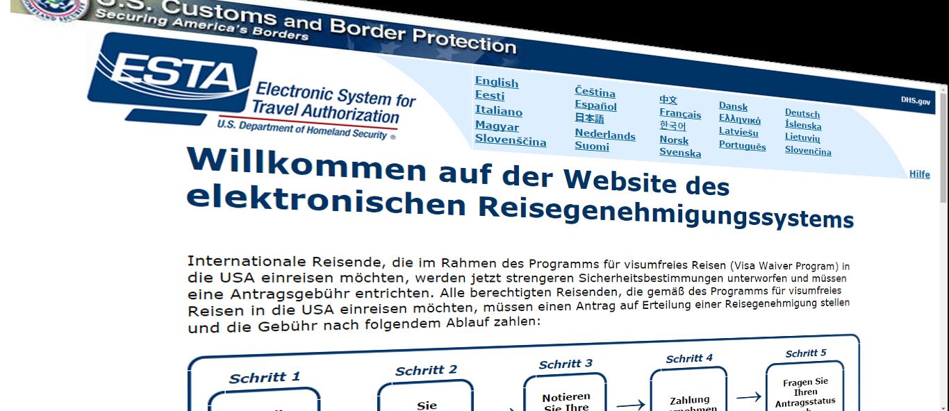 Website des elektronischen Reisegenehmigungssystems ESTA