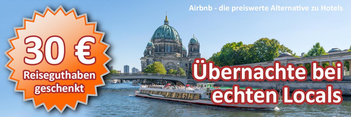 Partnerprogramme: Lass Dich von mir werben. Registriere Dich über diesen Bildlink bei Airbnb und wir beide erhalten ein Reiseguthaben, ohne Mindestbestellwert einlösbar bei unseren nächsten Reisen.
