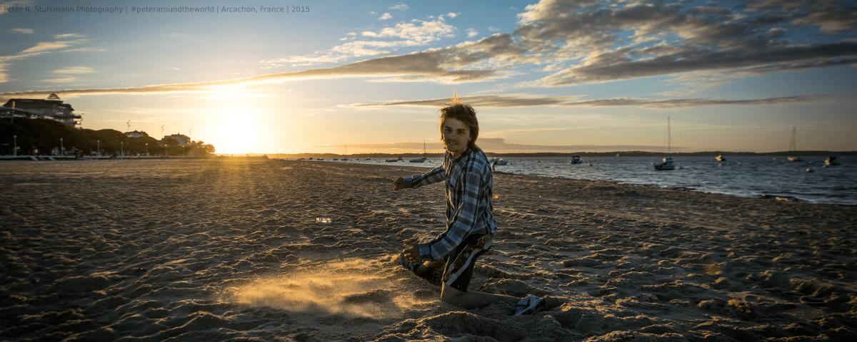 Jahresrückblick 2015: Sonnenuntergang am Strand von Arcachon (Frankreich).